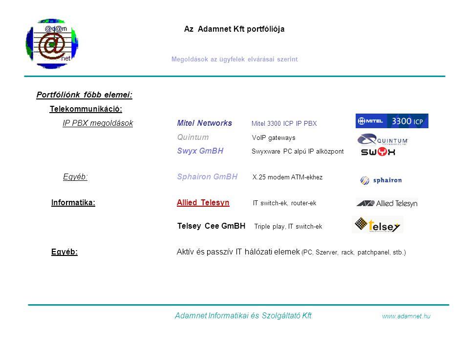 Az Adamnet Kft portfóliója Megoldások az ügyfelek elvárásai szerint Portfóliónk főbb elemei: Telekommunikáció: IP PBX megoldásokMitel Networks Mitel 3300 ICP IP PBX Quintum VoIP gateways Swyx GmBH Swyxware PC alpú IP alközpont Egyéb:Sphairon GmBH X.25 modem ATM-ekhez Informatika:Allied Telesyn IT switch-ek, router-ek Telsey Cee GmBH Triple play, IT switch-ek Egyéb:Aktív és passzív IT hálózati elemek (PC, Szerver, rack, patchpanel, stb.) Adamnet Informatikai és Szolgáltató Kft www.adamnet.hu