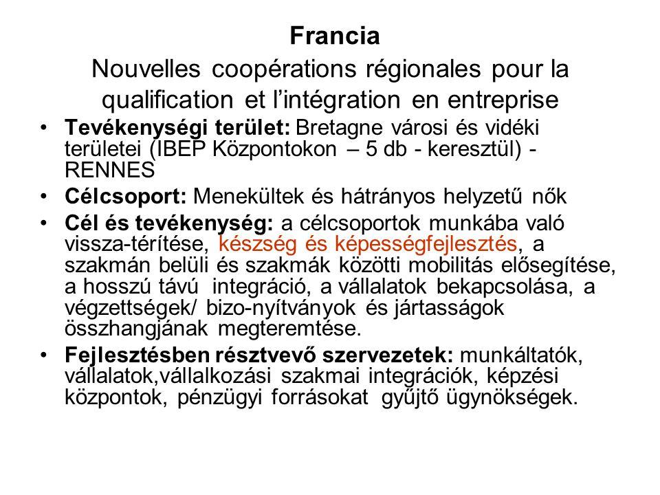 Francia Nouvelles coopérations régionales pour la qualification et l'intégration en entreprise •Tevékenységi terület: Bretagne városi és vidéki terüle