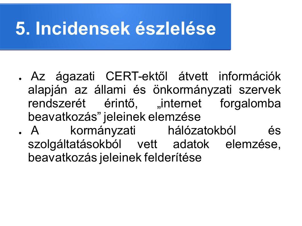 """5. Incidensek észlelése ● Az ágazati CERT-ektől átvett információk alapján az állami és önkormányzati szervek rendszerét érintő, """"internet forgalomba"""