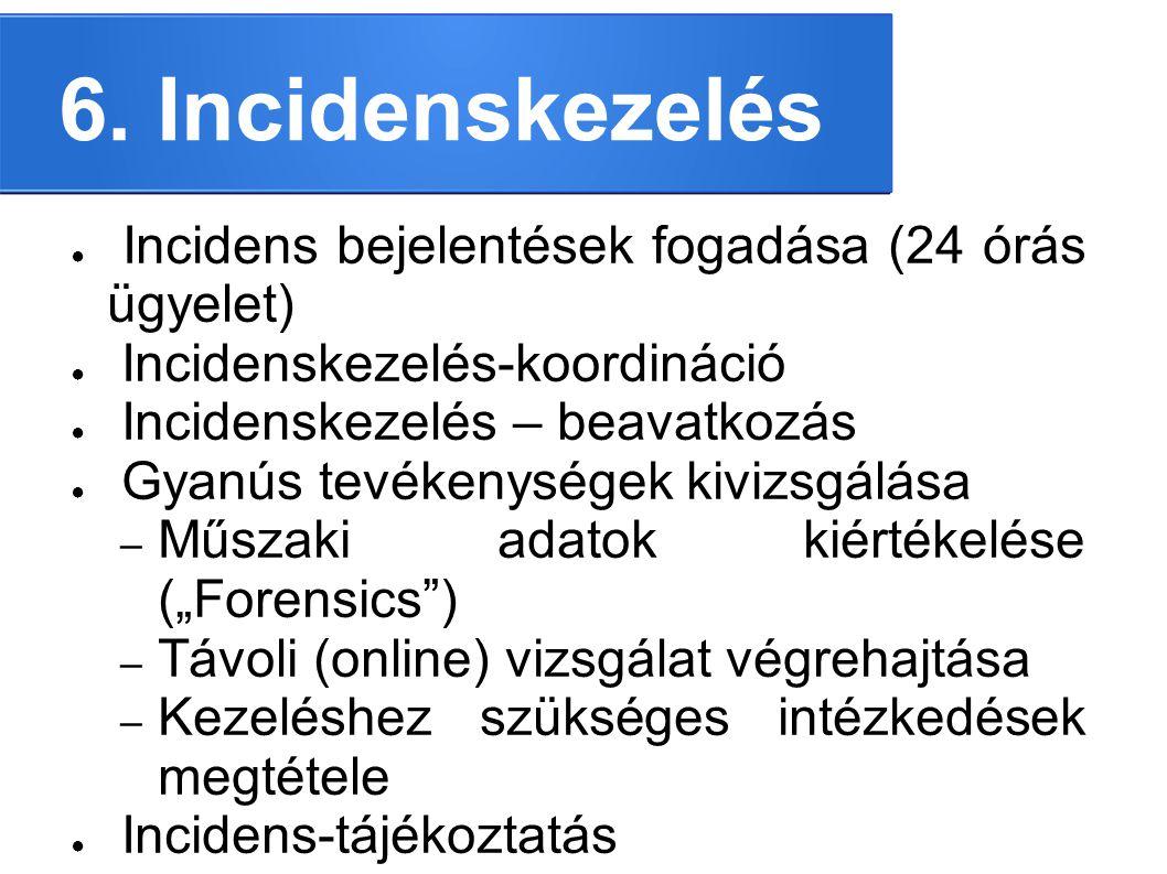 6. Incidenskezelés ● Incidens bejelentések fogadása (24 órás ügyelet) ● Incidenskezelés-koordináció ● Incidenskezelés – beavatkozás ● Gyanús tevékenys