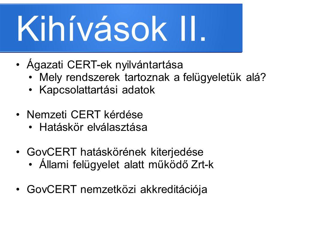 Kihívások II. •Ágazati CERT-ek nyilvántartása •Mely rendszerek tartoznak a felügyeletük alá? •Kapcsolattartási adatok •Nemzeti CERT kérdése •Hatáskör