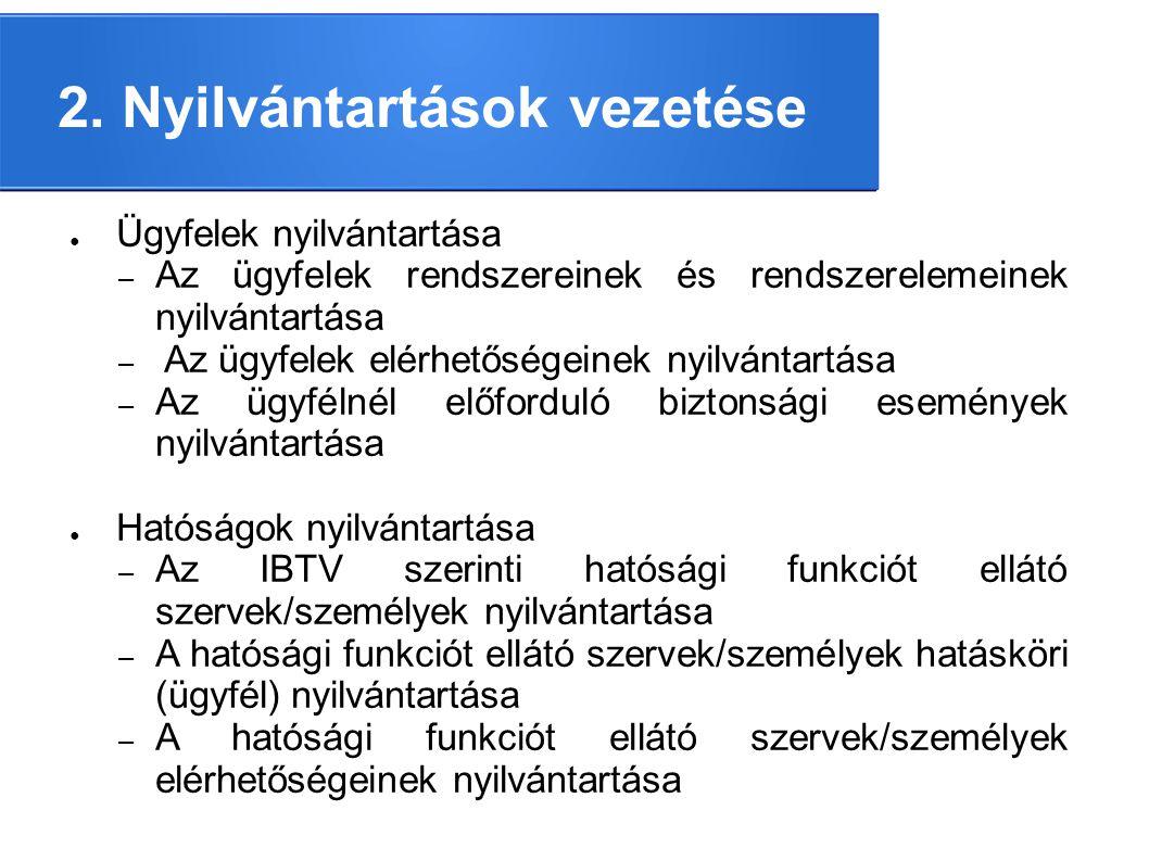 2. Nyilvántartások vezetése ● Ügyfelek nyilvántartása – Az ügyfelek rendszereinek és rendszerelemeinek nyilvántartása – Az ügyfelek elérhetőségeinek n