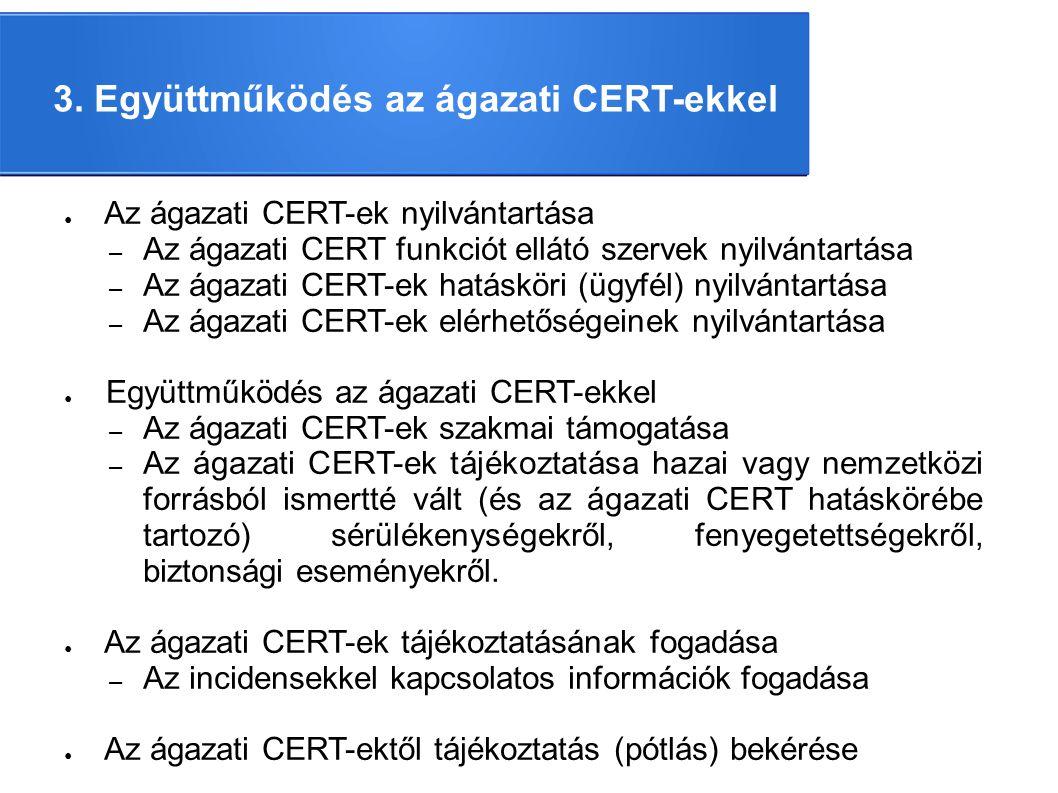 3. Együttműködés az ágazati CERT-ekkel ● Az ágazati CERT-ek nyilvántartása – Az ágazati CERT funkciót ellátó szervek nyilvántartása – Az ágazati CERT-