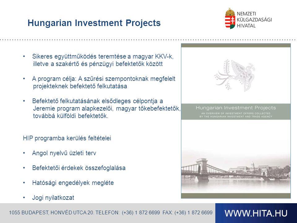 WWW.HITA.HU Hungarian Investment Projects •Sikeres együttműködés teremtése a magyar KKV-k, illetve a szakértő és pénzügyi befektetők között •A program célja: A szűrési szempontoknak megfelelt projekteknek befektető felkutatása •Befektető felkutatásának elsődleges célpontja a Jeremie program alapkezelői, magyar tőkebefektetők, továbbá külföldi befektetők.