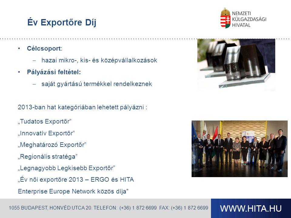 WWW.HITA.HU Év Exportőre Díj 1055 BUDAPEST, HONVÉD UTCA 20. TELEFON: (+36) 1 872 6699 FAX: (+36) 1 872 6699 •Célcsoport:  hazai mikro-, kis- és közép