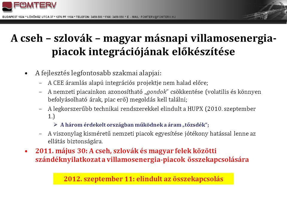 BUDAPEST 1024 * LÖVŐHÁZ UTCA 37 * 1276 PF 1104 * TELEFON: 3459-500 * FAX: 3459-550 * E - MAIL: FOMTERV@FOMTERV.HU A cseh – szlovák – magyar másnapi vi