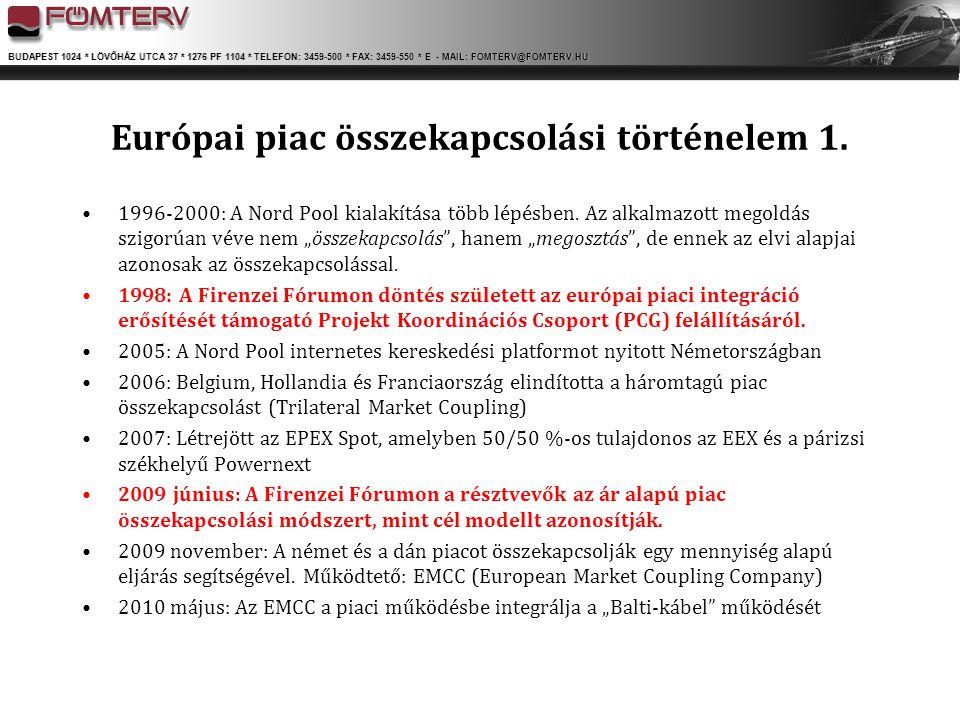 BUDAPEST 1024 * LÖVŐHÁZ UTCA 37 * 1276 PF 1104 * TELEFON: 3459-500 * FAX: 3459-550 * E - MAIL: FOMTERV@FOMTERV.HU Európai piac összekapcsolási történe