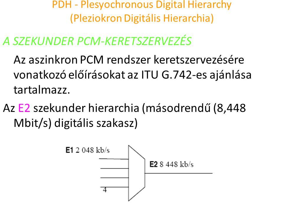 PDH - Plesyochronous Digital Hierarchy (Pleziokron Digitális Hierarchia) A SZEKUNDER PCM-KERETSZERVEZÉS Az aszinkron PCM rendszer keretszervezésére vo