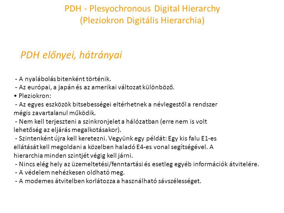 PDH - Plesyochronous Digital Hierarchy (Pleziokron Digitális Hierarchia) PDH előnyei, hátrányai - A nyalábolás bitenként történik. - Az európai, a jap