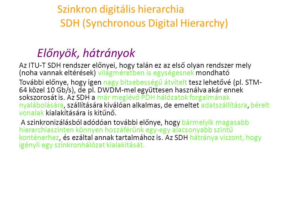 Szinkron digitális hierarchia SDH (Synchronous Digital Hierarchy) Előnyök, hátrányok Az ITU-T SDH rendszer előnyei, hogy talán ez az első olyan rendsz