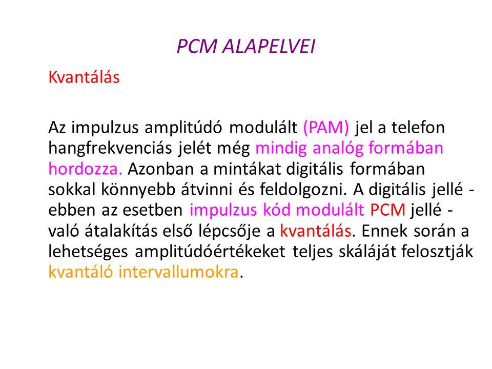 PCM ALAPELVEI Kvantálás Az impulzus amplitúdó modulált (PAM) jel a telefon hangfrekvenciás jelét még mindig analóg formában hordozza. Azonban a minták