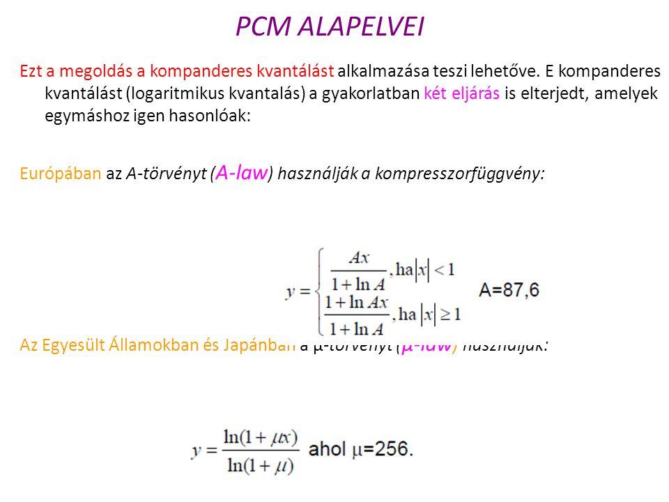 Ezt a megoldás a kompanderes kvantálást alkalmazása teszi lehetőve. E kompanderes kvantálást (logaritmikus kvantalás) a gyakorlatban két eljárás is el