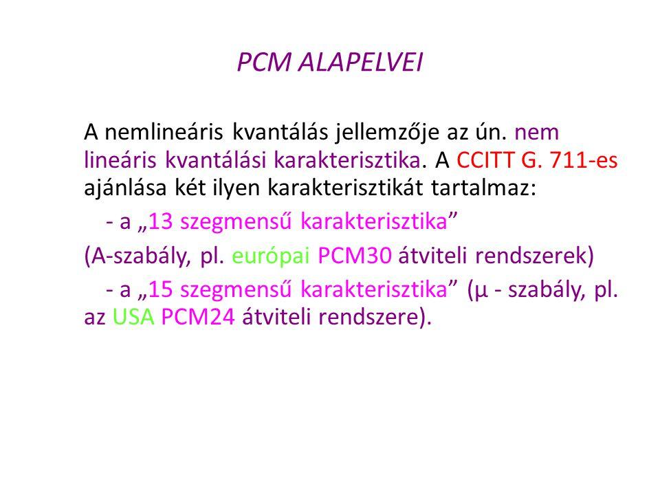 PCM ALAPELVEI A nemlineáris kvantálás jellemzője az ún. nem lineáris kvantálási karakterisztika. A CCITT G. 711-es ajánlása két ilyen karakterisztikát