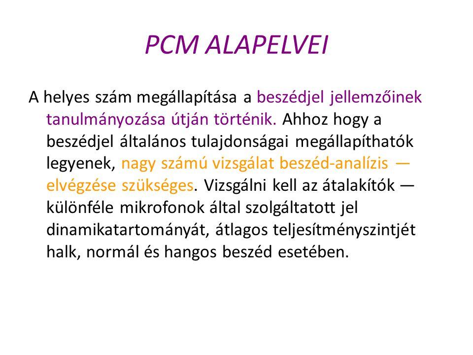PCM ALAPELVEI A helyes szám megállapítása a beszédjel jellemzőinek tanulmányozása útján történik. Ahhoz hogy a beszédjel általános tulajdonságai megál