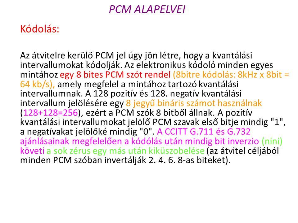 Kódolás: Az átvitelre kerülő PCM jel úgy jön létre, hogy a kvantálási intervallumokat kódolják. Az elektronikus kódoló minden egyes mintához egy 8 bit