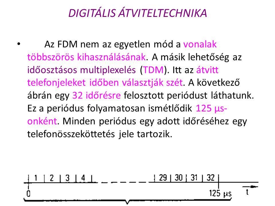 DIGITÁLIS ÁTVITELTECHNIKA • Az FDM nem az egyetlen mód a vonalak többszörös kihasználásának. A másik lehetőség az időosztásos multiplexelés (TDM). Itt