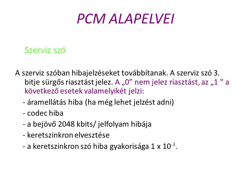 """PCM ALAPELVEI Szerviz szó A szerviz szóban hibajelzéseket továbbítanak. A szerviz szó 3. bitje sürgős riasztást jelez. A """"0"""" nem jelez riasztást, az """""""