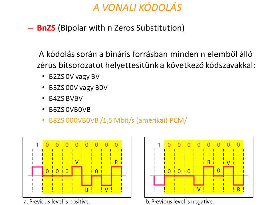 – BnZS (Bipolar with n Zeros Substitution) A kódolás során a bináris forrásban minden n elemből álló zérus bitsorozatot helyettesítünk a következő kód