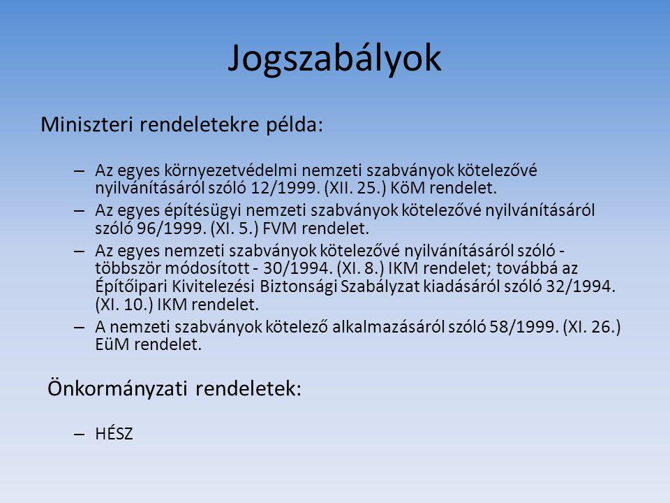 Jogszabályok Miniszteri rendeletekre példa: – Az egyes környezetvédelmi nemzeti szabványok kötelezővé nyilvánításáról szóló 12/1999. (XII. 25.) KöM re