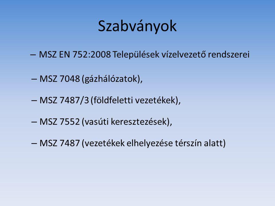 Szabványok – MSZ EN 752:2008 Települések vízelvezető rendszerei – MSZ 7048 (gázhálózatok), – MSZ 7487/3 (földfeletti vezetékek), – MSZ 7552 (vasúti ke