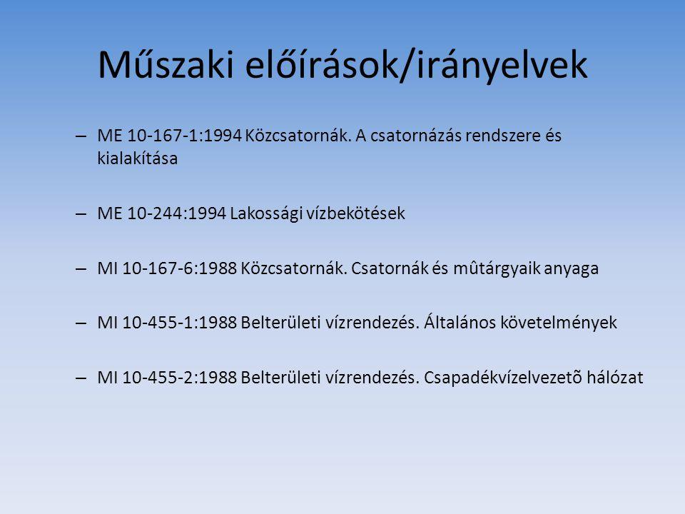 Műszaki előírások/irányelvek – ME 10-167-1:1994 Közcsatornák. A csatornázás rendszere és kialakítása – ME 10-244:1994 Lakossági vízbekötések – MI 10-1
