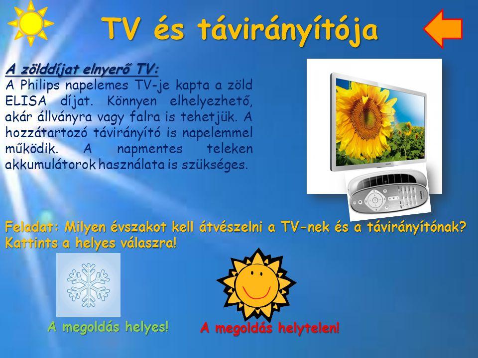 TV és távirányítója A zölddíjat elnyerő TV: A Philips napelemes TV-je kapta a zöld ELISA díjat. Könnyen elhelyezhető, akár állványra vagy falra is teh