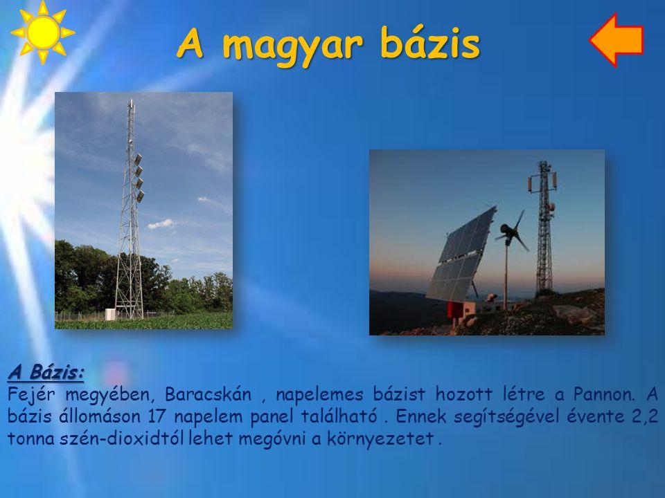 A magyar bázis A Bázis: Fejér megyében, Baracskán, napelemes bázist hozott létre a Pannon. A bázis állomáson 17 napelem panel található. Ennek segítsé