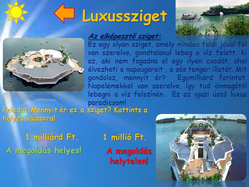 Luxussziget Az elképesztő sziget: Ez egy olyan sziget, amely minden földi jóval fel van szerelve, gondtalanul lebeg a víz felett. Ki az, aki nem fogad