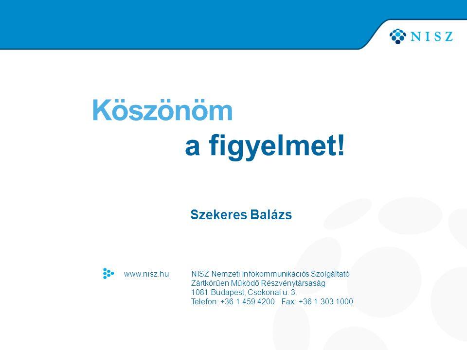 Köszönöm a figyelmet! Szekeres Balázs www.nisz.hu NISZ Nemzeti Infokommunikációs Szolgáltató Zártkörűen Működő Részvénytársaság 1081 Budapest, Csokona