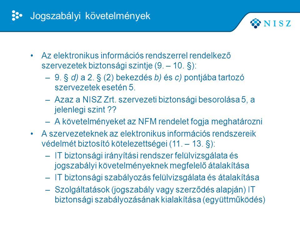 Jogszabályi követelmények •Az elektronikus információs rendszerrel rendelkező szervezetek biztonsági szintje (9. – 10. §): –9. § d) a 2. § (2) bekezdé