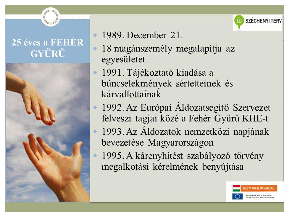 25 éves a FEHÉR GYŰRŰ  1989. December 21.  18 magánszemély megalapítja az egyesületet  1991.