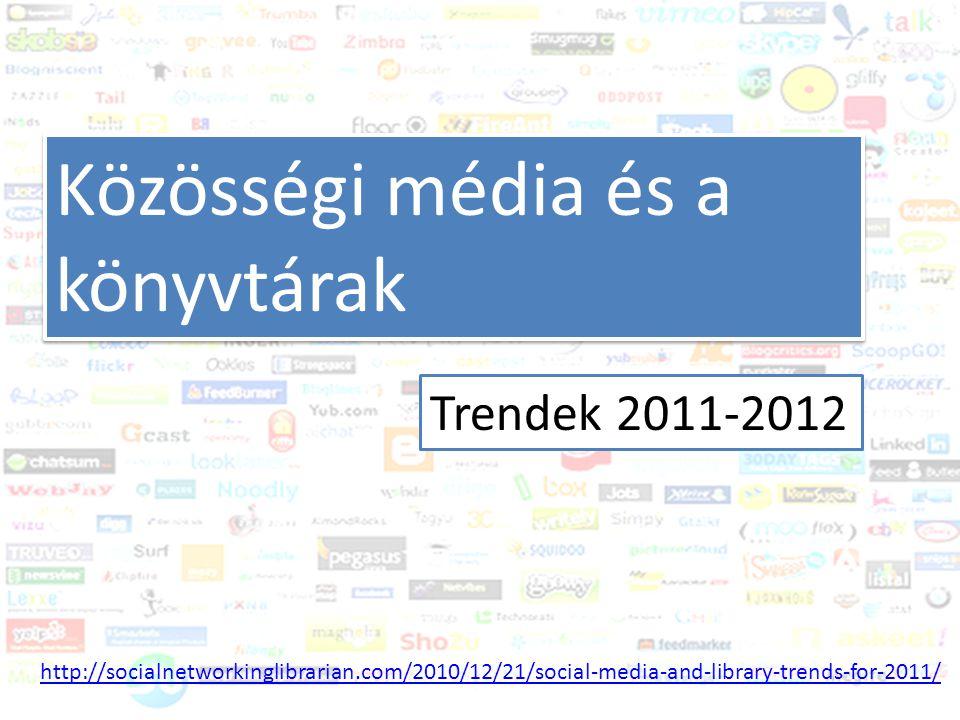Közösségi média és a könyvtár Trendek 2011-2012 Mobil alkalmazások 1.Mobil eszközökkel kompatibilis weboldalak 2.Adatbázisok, katalógusok mobil telefonokról