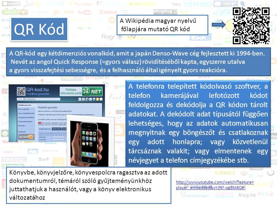 Közösségi média és a könyvtár Trendek 2011-2012 QR Kód A Wikipédia magyar nyelvű főlapjára mutató QR kód A QR-kód egy kétdimenziós vonalkód, amit a japán Denso-Wave cég fejlesztett ki 1994-ben.