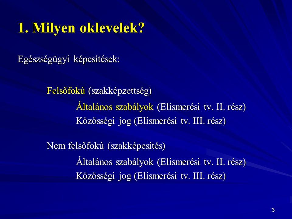 1. Milyen oklevelek? Egészségügyi képesítések: Felsőfokú (szakképzettség) Általános szabályok (Elismerési tv. II. rész) Közösségi jog (Elismerési tv.