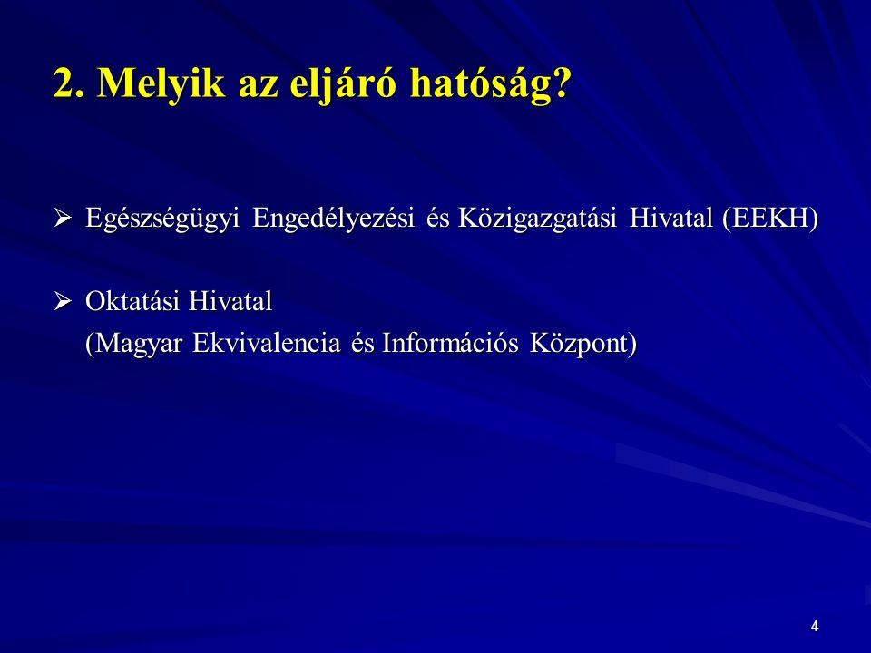 2. Melyik az eljáró hatóság?  Egészségügyi Engedélyezési és Közigazgatási Hivatal (EEKH)  Oktatási Hivatal (Magyar Ekvivalencia és Információs Közpo