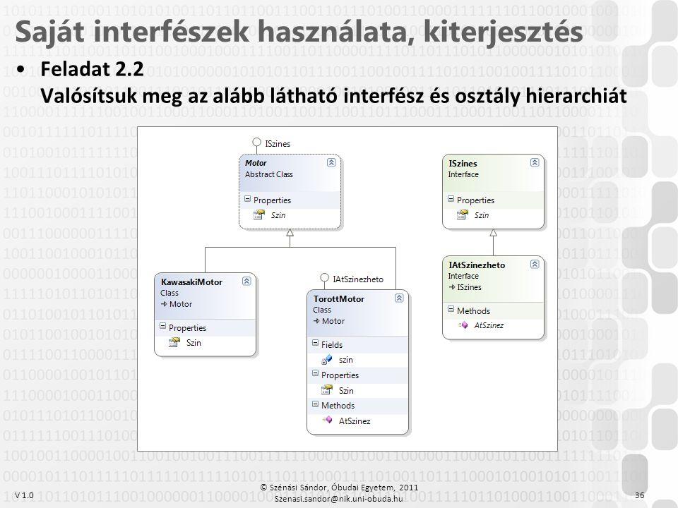 V 1.0 •Feladat 2.2 Valósítsuk meg az alább látható interfész és osztály hierarchiát 36 Saját interfészek használata, kiterjesztés © Szénási Sándor, Ób