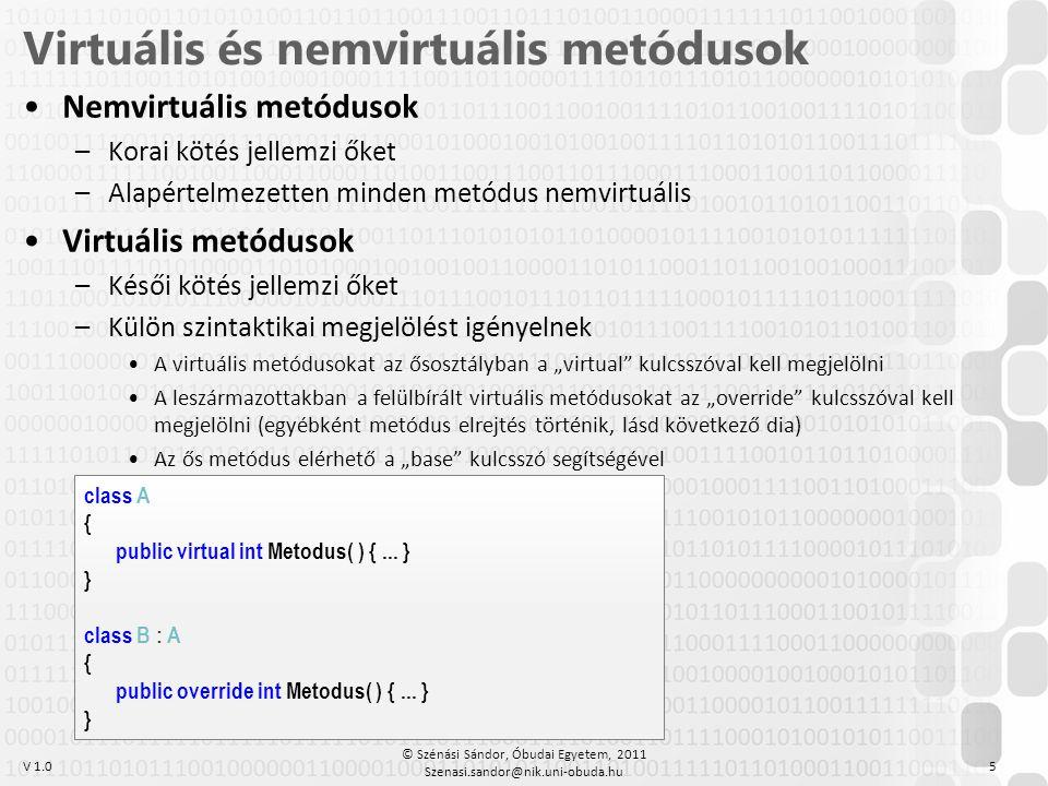V 1.0 •Nemvirtuális metódusok –Korai kötés jellemzi őket –Alapértelmezetten minden metódus nemvirtuális •Virtuális metódusok –Késői kötés jellemzi őke
