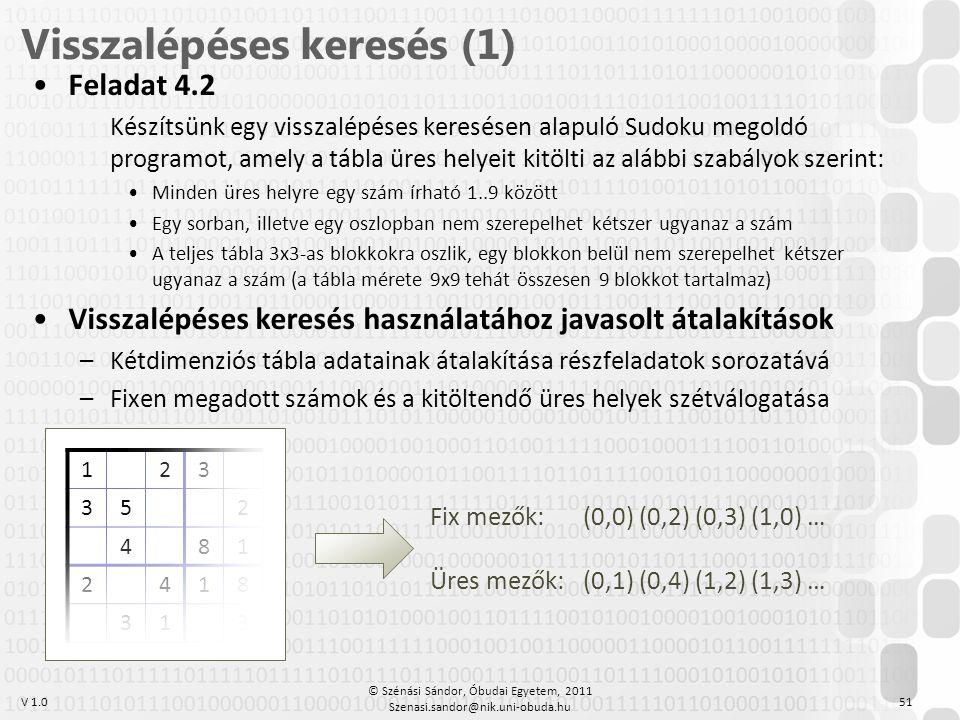 V 1.0 •Feladat 4.2 Készítsünk egy visszalépéses keresésen alapuló Sudoku megoldó programot, amely a tábla üres helyeit kitölti az alábbi szabályok sze