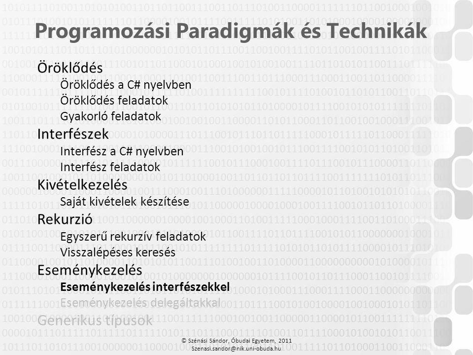 © Szénási Sándor, Óbudai Egyetem, 2011 Szenasi.sandor@nik.uni-obuda.hu Programozási Paradigmák és Technikák Öröklődés Öröklődés a C# nyelvben Öröklődé