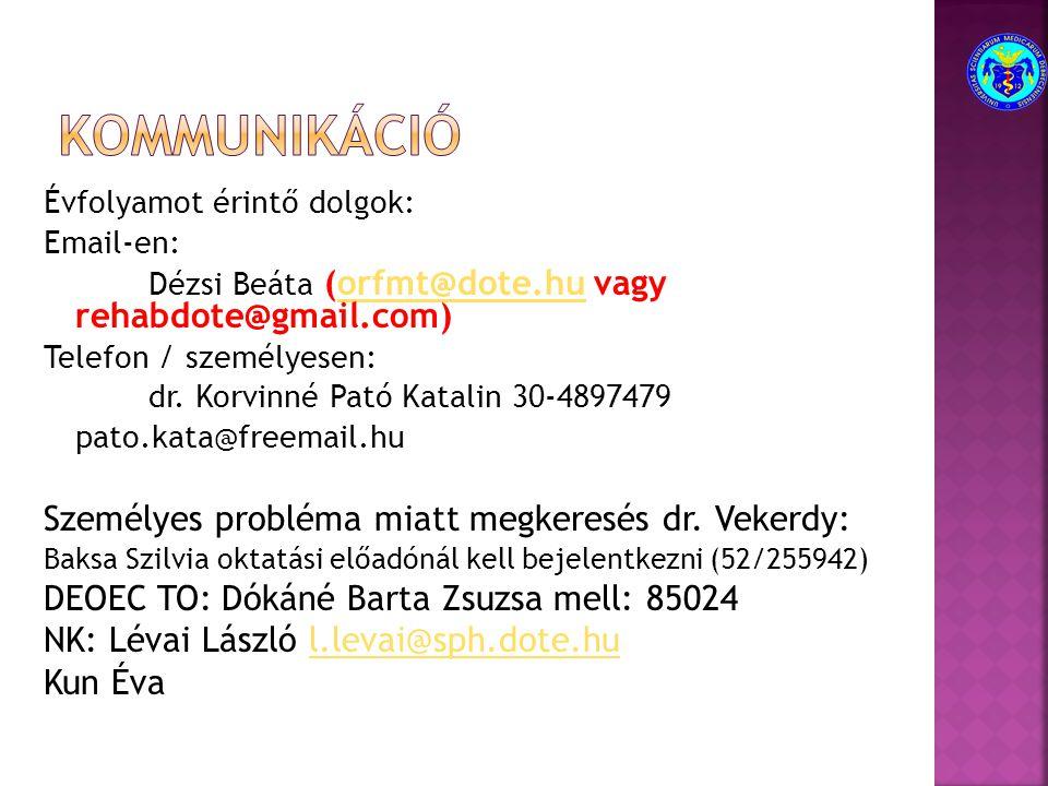 Évfolyamot érintő dolgok: Email-en: Dézsi Beáta (orfmt@dote.hu vagy rehabdote@gmail.com)orfmt@dote.hu Telefon / személyesen: dr.