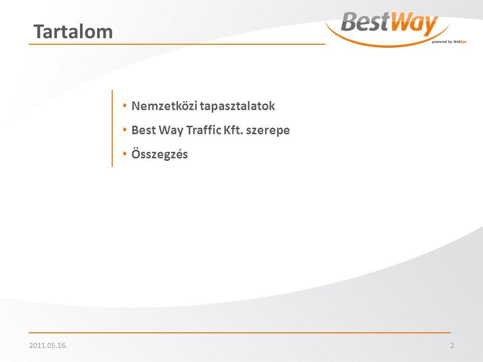 2011.05.16.2 Tartalom • Nemzetközi tapasztalatok • Best Way Traffic Kft. szerepe • Összegzés