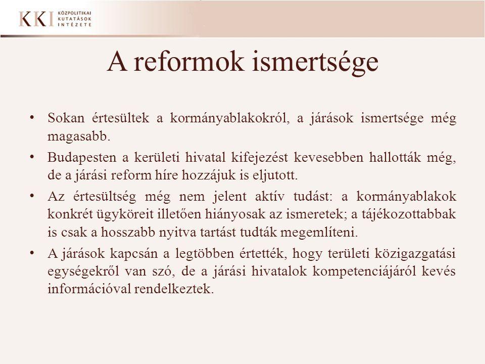 A reformok ismertsége • Sokan értesültek a kormányablakokról, a járások ismertsége még magasabb. • Budapesten a kerületi hivatal kifejezést kevesebben
