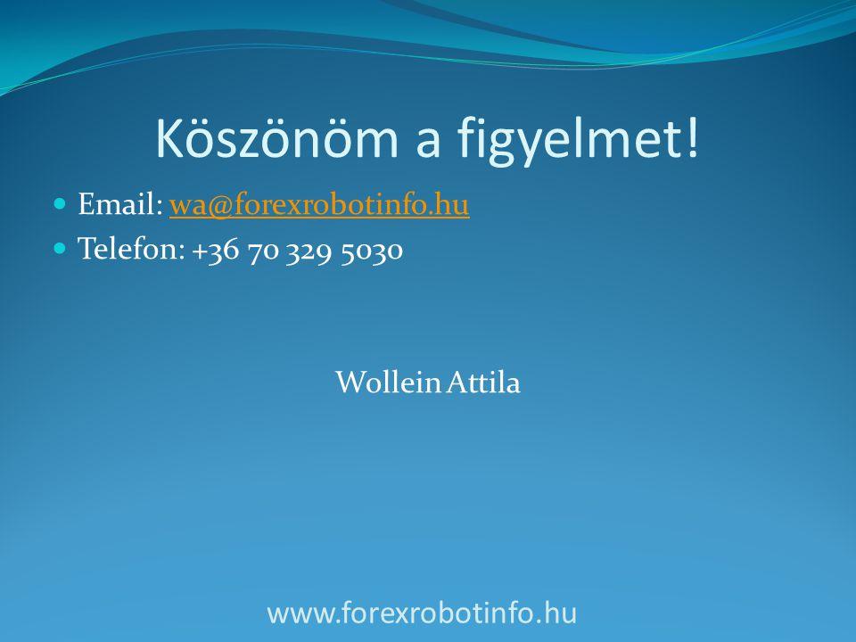 Köszönöm a figyelmet!  Email: wa@forexrobotinfo.huwa@forexrobotinfo.hu  Telefon: +36 70 329 5030 Wollein Attila www.forexrobotinfo.hu