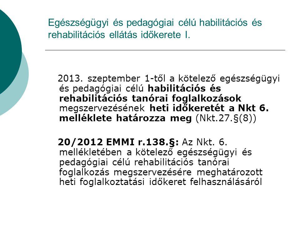Egészségügyi és pedagógiai célú habilitációs és rehabilitációs ellátás időkerete I. 2013. szeptember 1-től a kötelező egészségügyi és pedagógiai célú