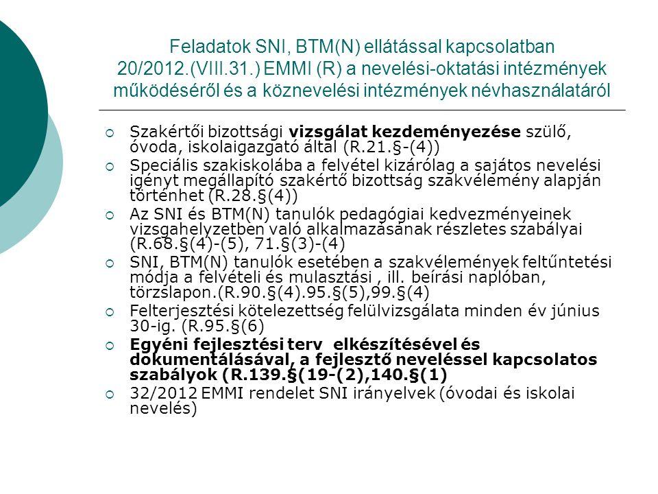 Feladatok SNI, BTM(N) ellátással kapcsolatban 20/2012.(VIII.31.) EMMI (R) a nevelési-oktatási intézmények működéséről és a köznevelési intézmények név