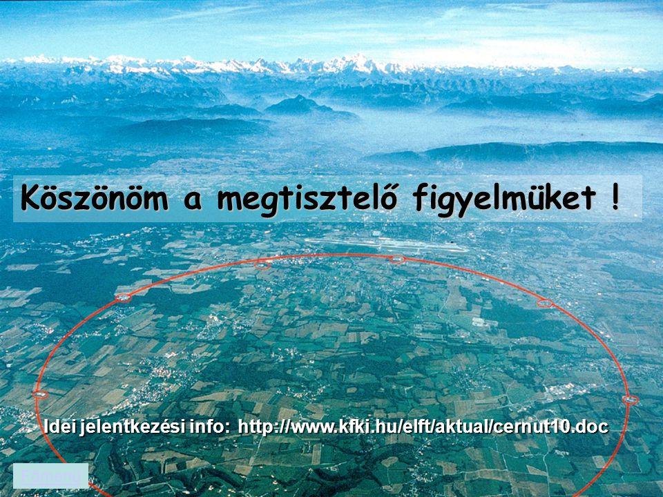 Köszönöm a megtisztelő figyelmüket ! Főmenü Idei jelentkezési info: http://www.kfki.hu/elft/aktual/cernut10.doc