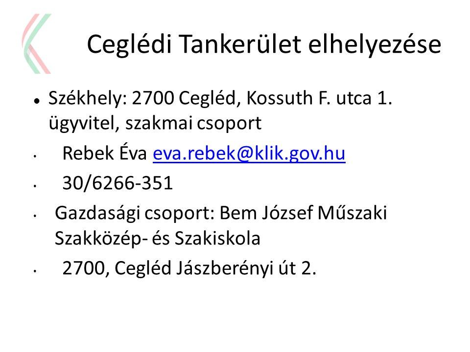 Ceglédi Tankerület elhelyezése  Székhely: 2700 Cegléd, Kossuth F. utca 1. ügyvitel, szakmai csoport • Rebek Éva eva.rebek@klik.gov.hueva.rebek@klik.g