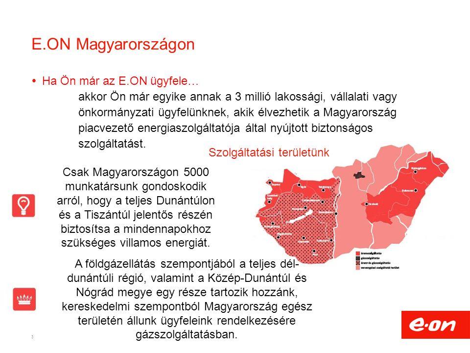 E.ON Magyarországon  Ha Ön már az E.ON ügyfele… akkor Ön már egyike annak a 3 millió lakossági, vállalati vagy önkormányzati ügyfelünknek, akik élvez