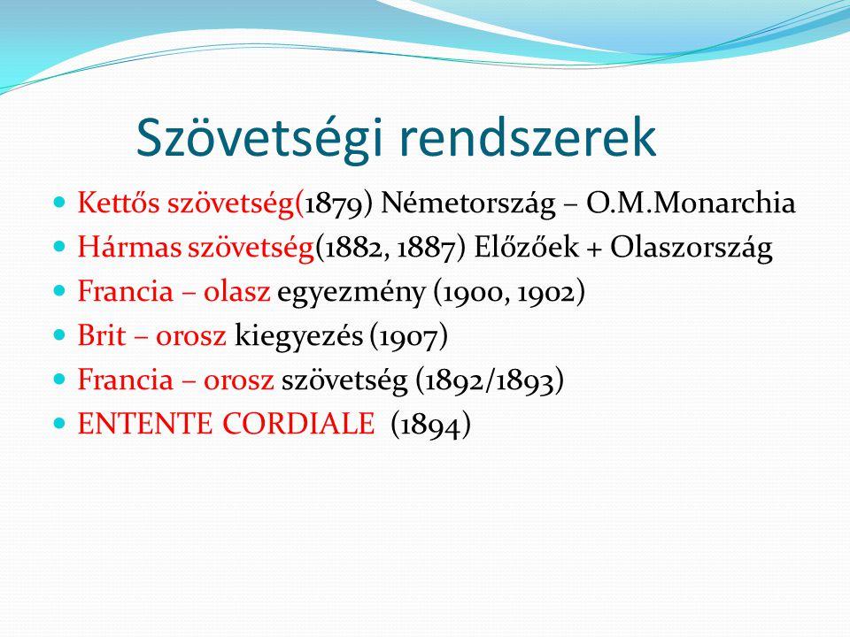 Szövetségi rendszerek  Kettős szövetség(1879) Németország – O.M.Monarchia  Hármas szövetség(1882, 1887) Előzőek + Olaszország  Francia – olasz egye