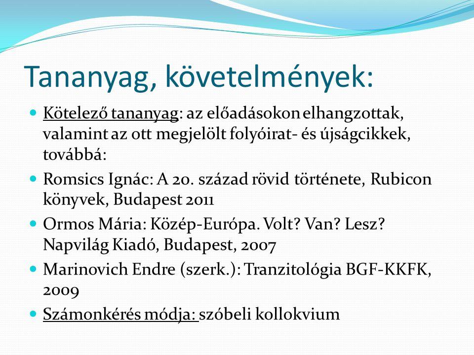 Tananyag, követelmények:  Kötelező tananyag: az előadásokon elhangzottak, valamint az ott megjelölt folyóirat- és újságcikkek, továbbá:  Romsics Ignác: A 20.